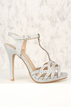 ee53ee67384 Sexy Silver Perforated Single Sole T-Strap Heels