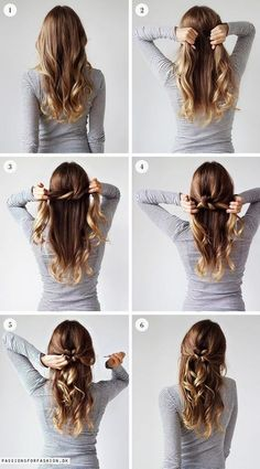 """Coiffures rapides avec des cheveux longs # fantaisie coiffures # fille """" Quick Hairstyles, In my opinion, hair ribbons/scarves are the prettiest hair accessories. They can make a messy bun or a ponytail look elegant. They can make a bad hair. Medium Long Hair, Long Curly, Hair Lengths, Hair Inspiration, Colour Inspiration, Cool Hairstyles, Beautiful Hairstyles, Fashion Hairstyles, Step By Step Hairstyles"""