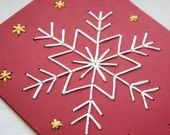 HOLIDAY DIY Star Embroidered Card Kit- four red cards, white and yellow thread. $12.00, via Etsy.