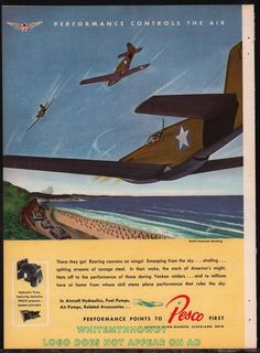 1943 WW II NORTH AMERICAN P-51 Mustang Fighter Aircraft WWII WW2 Pesco AD