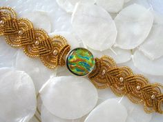 Goldenrod Micro Macrame Bracelet with Dichroic Glass BL0022 | GetGlassy - Jewelry on ArtFire
