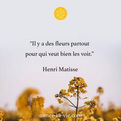"""☀️ Reflexion du jour ☀️ """"Il y a des fleurs partout pour qui veut bien les voir."""" Henri Matisse Aujourd'hui je vous partage cette citation remplie de douceur par Henri Matisse qui nous rappelle de prendre le temps d'apprécier les choses de la vie et de prendre soin de nous. Êtes-vous d'accord? Dites-le moi en commentaire 👇 Je vous souhaite une excellente semaine - Pascale D.P Journey, Henri Matisse, Hui, Words, Take Care Of Yourself, Being Angry, Positive Quotes, The Journey, Horse"""