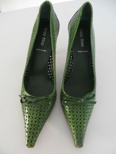 bfa88313801 Extreme Pointed and Squared Vintage Miu Miu Kitten Heel Pump in Perforated  Leather