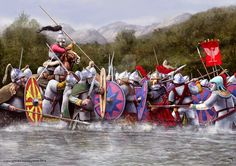 """Battle between the Lombards and the Byzantines """"when Constans' army, marching from Benevento to Naples, was ambushed at the river Calore's ford by the forces of Mitolas, the Lombard count of Capua."""""""