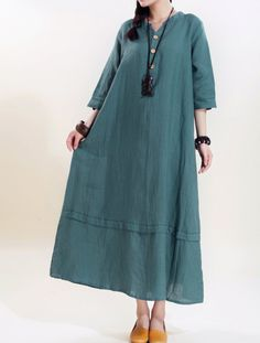 Women linen Maxi dress/ loose linen dress/ Blue Women by MaLieb