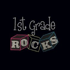 "New Girls Rhinestone /""1st Grade Rocks/"" School T Shirt All Sizes All Grades"
