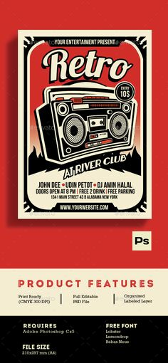 Buy Retro Music Radio Flyer Poster by Muhamadiqbalhidayat on GraphicRiver. Retro Music Radio Flyer Poster Retro style and unique flyer, poster, invitation design for your next Event party. Radios, Radio Flyer, Typographie Inspiration, Music Radio, Music Images, Retro Logos, Grunge, Band Posters, Festival Posters