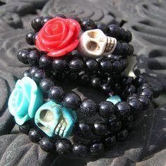 Day of the dead wrap around bracelet black plastic by shabbyskull, $15.00