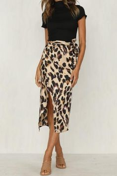 c7ac1222ab85 Fashion Women Chiffon High Waist Summer Beach Long Maxi Skirts Leopard  Splitliilgal Leopard Skirt Outfit,