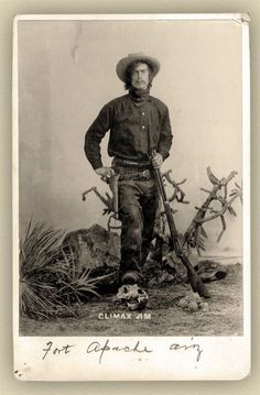 """Rufus """"Climax Jim"""" Nephew poses in this studio shot at Fort Apache, circa 1898, some four years after the first of many arrests during his career as a likable safe cracker, escape artist, livestock thief and alleged train robber."""