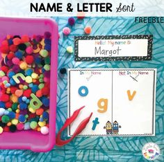 FREE printable letter sort for preschool, pre-k, and kindergarten. This FREE download includes a set of 4 letter sorting mats & alphabet rainbow letters. Sort in different ways, including In My Name vs. Not In My Name, Holes vs. No Holes, Uppercase vs. Lowercase, & Curvy vs. Straight vs. Both. Also includes a black and white version to save colored ink. Great activity for back to school to review letters with your students in the classroom or your own kids at home! #kindergarten #preschool Pre K Activities, Back To School Activities, Hands On Activities, Chrysanthemum Activities, Letter Sorting, Printable Letters, Free Printable, Preschool Phonics, Name Crafts