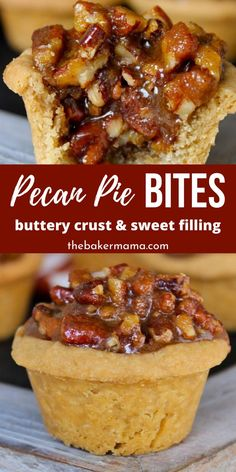 Whip up these bite-size Pecan Pie Bites! Whip up these bite-size Pecan Pie Bites! Transform your holiday dessert with this super easy and delightful pecan pie dessert. A buttery crust that is filled with sweet and creamy pecan filling. Pecan Desserts, Mini Desserts, Bite Size Desserts, Christmas Desserts, Christmas Baking, Easy Desserts, Christmas Holiday, Christmas Parties, Simple Dessert Recipes