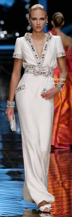White Lavishly Embezzled Valentino Gown