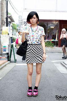 Retro Pinup Top w/ Remade Op Art Skirt