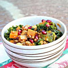 Garlic Roasted Butternut Squash and Kale Wheatberry Salad with Pomegranate