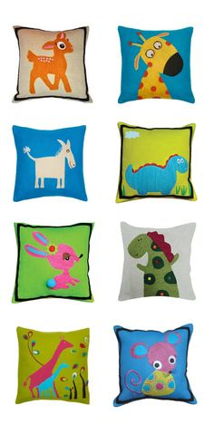 Animal illustration cushions for kids by Amity Home