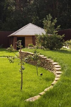Terracing for slopes and stone wall design, hill landscaping idea