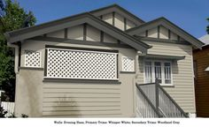 Contemporary and classic colour schemes created for us by expert Colour Consultant Lisa Harragon of Colour Wheels. Cabin Exterior Colors, Grey Exterior, Exterior Paint Colors For House, Cottage Exterior, Paint Colors For Home, Paint Colours, Queenslander House, Exterior Paint Schemes, House Color Schemes