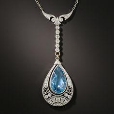 Art Deco Aquamarine Platinum Diamond Lavaliere - Vintage Jewelry - March 17 2019 at Anel Art Deco, Art Deco Schmuck, Bijoux Art Deco, Art Nouveau Jewelry, Art Deco Ring, Schmuck Design, Jewelry Art, Antique Jewelry, Vintage Jewelry
