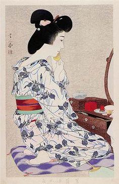 In a Light Summer Kimono with Irises - Torii Kotondo