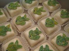 Cute petits with glittery green fish fondant