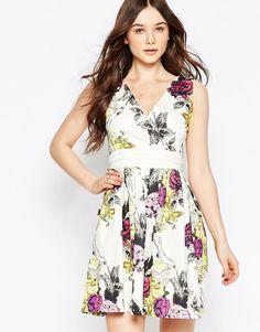 Image 1 of Liquorish V Neck Floral Dress With Obi Belt