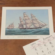 Clipper Ship Sweepstakes ~ Currier & Ives Calendar Print by FeeneyFinds on Etsy