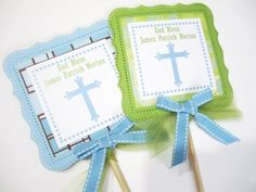 Holy Communion, Christening or Baptism Cross Centerpiece Party