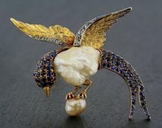 Art Nouveau Bird Brooch - Antique Sapphire & Mississippi Pearl Bird Brooch
