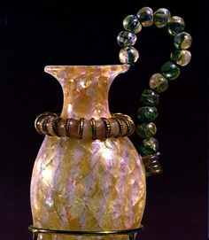 The crystal ring at the neck is decorated with gilt faïence; the beads on the handle were wound together with bronze wire. Palace of Zakros, Crete. 1450 B., via TheAncientWorld. Roman Artifacts, Historical Artifacts, Ancient Artifacts, Crystal Vase, Crystal Ring, Minoan, Ancient Romans, Ancient Civilizations, Ancient History