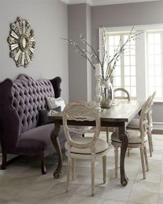 So in love with the purple tufted banquette <3