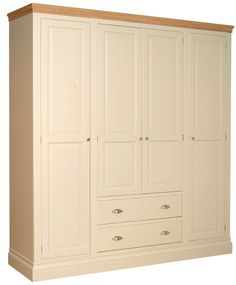 Lundy Quad Wardrobe with Two Drawers - Wardrobes - Buy Pine, Oak, Painted and Bespoke Furniture - Pine Shop Bury Pine Furniture, Types Of Furniture, Bespoke Furniture, Bedroom Furniture, Pine Wardrobe, Wardrobe Doors, Bedroom Wardrobe, Tall Skinny Dresser, Ivory Paint