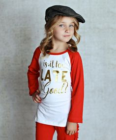 Look what I found on #zulily! Red & White 'Too Late' Raglan Tee - Infant, Toddler & Girls #zulilyfinds