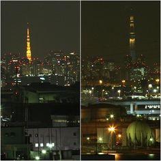 [Tokyotower and Tokyoskytree] from kawasakimarien ougijima kawasakicity