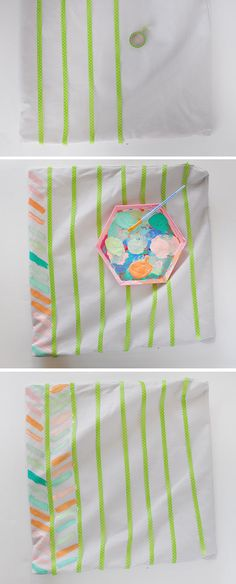 DIY Painted Pillow Cover steps