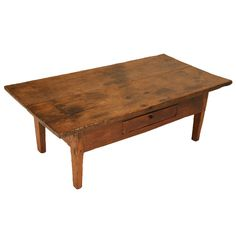 1stdibs | Original Antique French Oak & Pine Coffee Table w/Drawer & Wide Boards