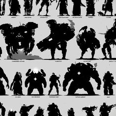 Silhouettes are an important part of my character development process. They are a very useful tool for evaluating and unifying the visual relationships amongst a broad character roster. I am primarily concerned with shape, and gesture at this stage, and Character Poses, Character Design References, Character Concept, Character Art, Character Development, Level Design, Shape Design, Design Visual, Photoshop Shapes