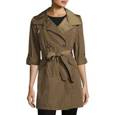 French Connection Nylon Double-Breasted Trench Coat (325 BRL) ❤ liked on Polyvore featuring outerwear, coats, olive, olive trench coat, brown coat, brown trench coat, a line trench coat and olive green trench coat