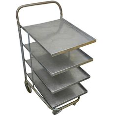 Mid-Century Stainless Steel Cart on pivoting wheels | From a unique collection of antique and modern dry bars at https://www.1stdibs.com/furniture/storage-case-pieces/dry-bars  looks useful!  $295