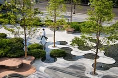 ASPECT Studios completes the first stage of The HyperLane #landscapearchitecture #china #aspectstudios #design #plaza #chengdu #trees #timber #wood #deck Chengdu, Organic Forms, Plaza Design, Pocket Park, Landscape Architecture Design, Parking Design, Urban Furniture, Urban Planning, Bilbao