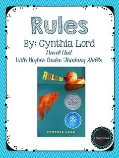 91 page novel study to go along with the book rules by cynthia lord