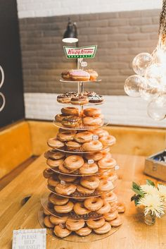 Krispy kreme wedding cake London City Wedding at The Happenstance by Sam & Louise Photography