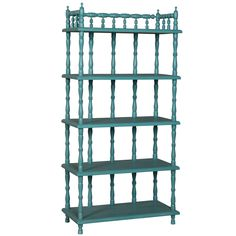 Off Handpainted Spindle Green Tall Shelf by GuildMaster. @ Manor Deep Teal finish on tall solid wood spindle shelf with five shelves. @ Hand painted @ Made In Indonesia Tall Shelves, Painted Furniture, Bookcase, Bamboo Linens, Shelves, Coastal Cottage, Mahogany Color, Shabby Chic Shelves, Display Furniture
