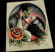 Image of Frankenstein and Bride Kiss Tattoo Art Print by Quyen Dinh