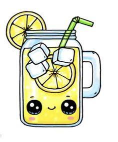 Lemonade - drawings of girls - Lemonade - Kawaii Girl Drawings, Cute Food Drawings, Cute Animal Drawings Kawaii, Cute Little Drawings, Cute Cartoon Drawings, Cool Art Drawings, Disney Drawings, Food Drawing Easy, Easy Animal Drawings