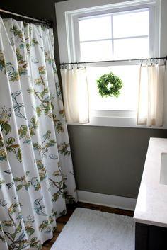 trendy Ideas for farmhouse bathroom window treatments cafe curtains Half Curtains, Small Window Curtains, Bathroom Window Curtains, Bath Window, Bathroom Windows, Target Curtains, Girl Curtains, Shower Window, Window Valances