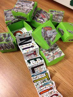 Pomppulaatikot origamtaitteluna (4.lk) Kannen koristeet lehdistä leikattua. (Alkuopettajat FB -sivustosta / Johanna Marjomäki)