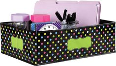 """Chalkboard Brights Storage Bin - Classroom organization is easy with these decorative storage boxes and bins. Keep manipulatives, books, notepads, educational toys, games, and supplies in these decorative organizers that feature a write-on/wipe-off surface for convenient labeling and easy cleaning. The durable bins can also be folded for easy storage so you can take them out and use them year after year. Approx. 16"""" x 11"""" x 5"""""""