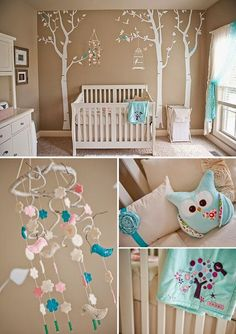 Beige Nursery Room With Blue Accents. Beige Nursery Room With Blue Accents. Pink Aqua Nursery, Beige Nursery, Owl Nursery, Nursery Themes, Nursery Room, Nursery Decor, Nursery Ideas, Owl Themed Nursery, Babyroom Ideas