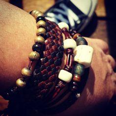 Leather Stacking Bracelet Set/Beaded Leather Bracelets/Boho Bracelet Set/Native American Leather/Tribal Leather Jewelry/African Bracelets by SexySkinsLeather on Etsy